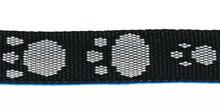 stevig tassenband 1,5 cm breed, zwart met grijze pootjes