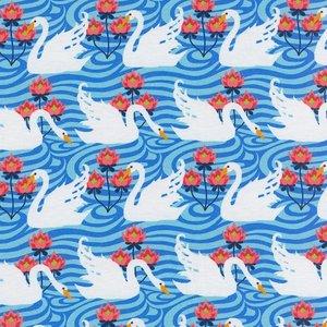 Flora: tricot witte zwanen op blauw naar een ontwerp van Jolijou