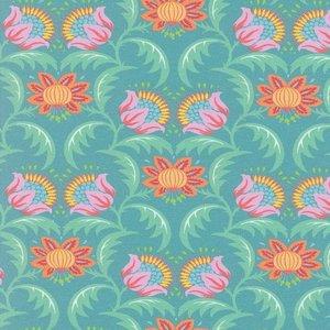 Flora: tricot fantasiebloemen op zacht petrol naar een ontwerp van Jolijou