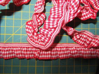 elastisch ruitjesband, rood/wit