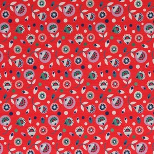 Bloomstar: tricot kleine bloemetjes op rood naar een ontwerp van Jolijou