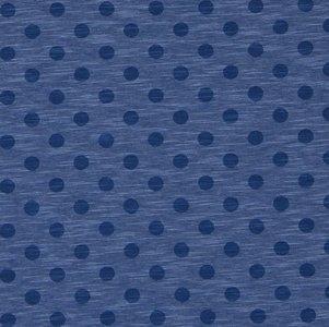 Nadine: tricot jeansblauw gemêleerd met donkerblauwe noppen