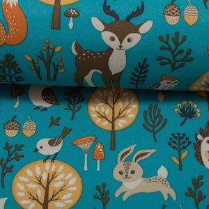 coupon 90 cm: Sheldon: dieren uit het bos op petrol softshell, winddicht en waterafstotend