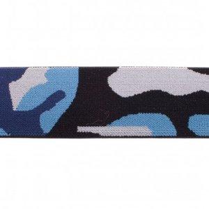 taille-elastiek 4 cm breed: legerprint blauw /HALVE METER