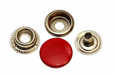 10 metalen drukkers rood15 mm
