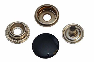 10 metalen drukkers donkerblauw 15 mm