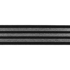 taille-elastiek 4 cm breed:strepen glitter op zwart/ HALVE METER
