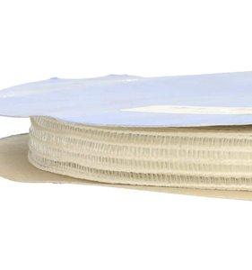 dun en redelijk stevig gaaselastiek of rimpelband-elastiek wit 1,5 cm