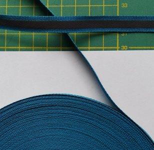 1 cm breed ribsband met reflecterende streep op turquoise/blauw