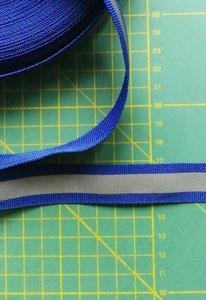 2 cm breed ribsband met reflecterende streep op blauw