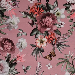 Matti: digitaal bedrukte tricot: bloemen en vlinder op oudroze, grote print!