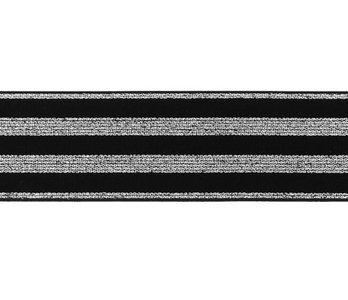 elastiek 4 cm breed:strepen lurex op zwart/ HALVE METER