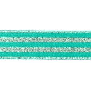 elastiek 4 cm breed:strepen lurex op mint / HALVE METER