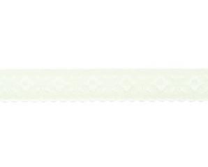 gebroken wit omvouwelastiek met geweven figuurtje aan één kant en een klein schulprandje op de vouw