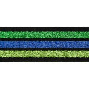 taille-elastiek 4 cm breed:strepen lurex groen en blauw op zwart/ HALVE METER