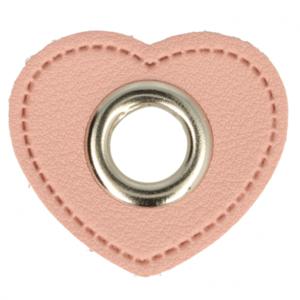 zilverkleurige nestels op roze hartje van nepleer: gat diameter 8 mm