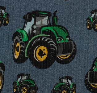 Mattes, tractor op jeansblauwe tricot