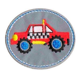 opstrijkbare applicatie:reflecterende button met rode SUV