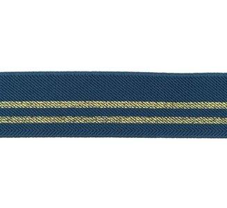 taille-elastiek 3 cm breed: jeansblauw met twee gouden lurex strepen / HALVE METER