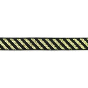 elastiek 2,5 cm breed: schuine streep lurex goud op zwart / HALVE METER