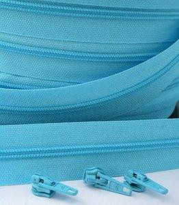 rits aan de meter, licht turquoise 4mm