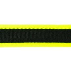 gebreid band 2,5 cm breed: zwart met neongeel