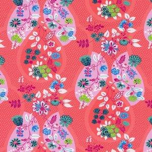 Flora: tricot met bloemenranken op koraalroze naar een ontwerp van Jolijou