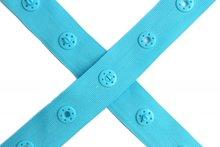 drukkertjesband turquoise: afstand 2,5 cm: HALVE meter