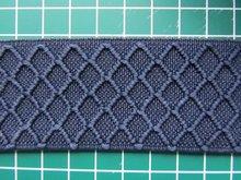 taille-elastiek 4 cm breed: marine met ingeweven ruit /HALVE METER