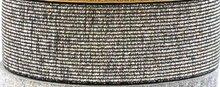 taille-elastiek 2,5 cm breed: zilver met zwart / HALVE METER