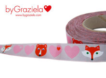 byGraziela-hartjes-roze-op-grijs-met-beer-en-vos-sierbandje