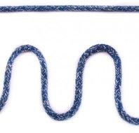 Koord 5 mm gevlochten katoenen koord, gemêleerd jeans