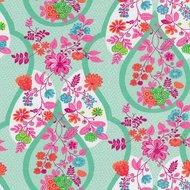 Flora: tricot roze fantasiebloemen op zachtgroen/mint met kleine witte stipjes naar een ontwerp van Jolijou