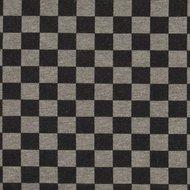 coupon 100 cm Bielefeld: dikkere wintertricot met blokjes van 1,5 cm zwart/grijs