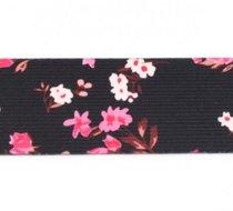 taille-elastiek 4 cm breed: kleine bloemetjes roze op zwart/ HALVE METER