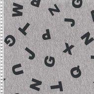 Bielefeld: dikkere wintertricot met letters zwart op grijs