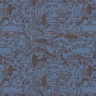 Vera, grafische dieren in het bos, rookblauw met grijs